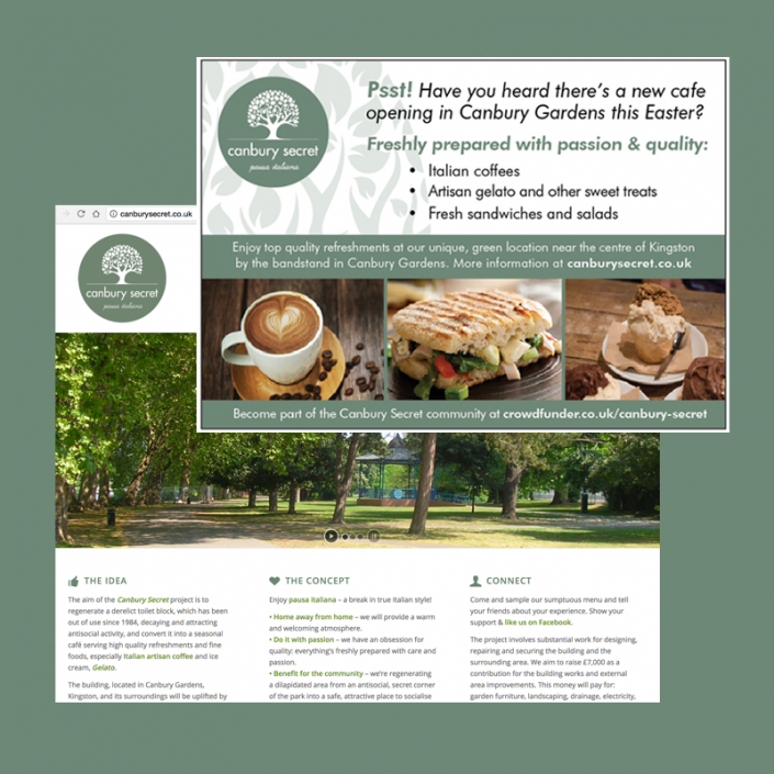 Graphic design, publicity, advertising, social media and website for a new cafe project