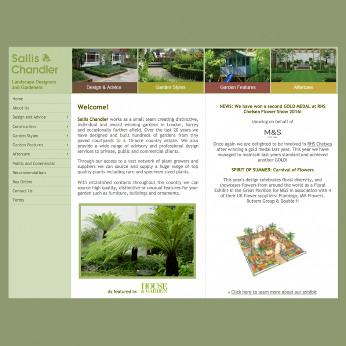 Graphic design for logo and identity, website design for a garden company