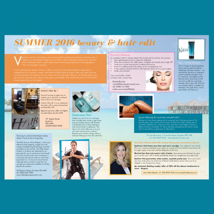 Graphic design for a magazine beauty feature